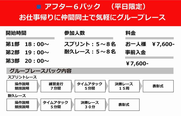 サーキット秋ヶ瀬 レンタルカート 貸切 グループレースパック アフター6